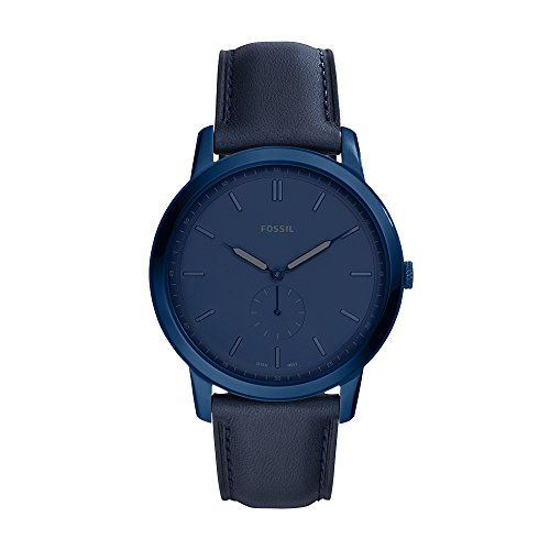 Fossil Men's The The Minimalist - Mono Stainless Steel Analog-Quartz Watch with Leather Calfskin Strap, Blue, 20 (Model: FS5448)