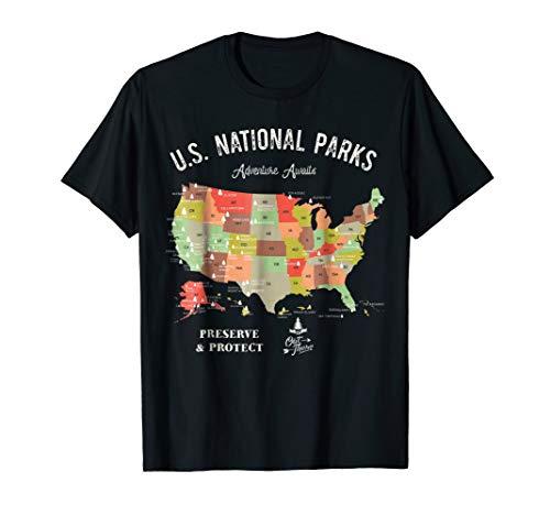 U.S National Parks Map T-Shirt Vintage Hiking Camping TShirt