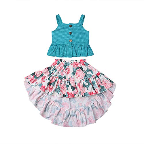 (Toddler Baby Two Piece Set Girls Ruffle Strap Top+Boho Floral Skirt Summer Outfit Clothes Beach Clothes (Green Strap Top+ Floral Skirt, 1-2T))