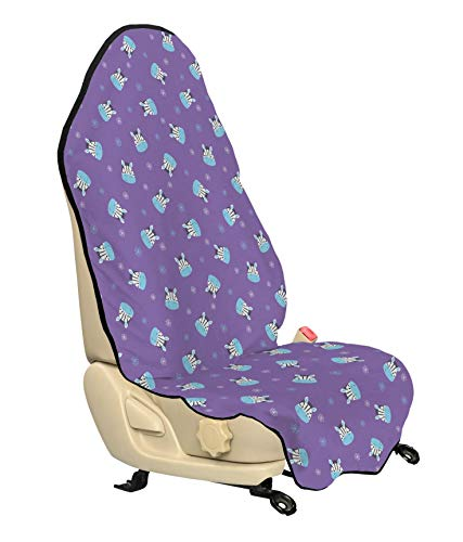 (Lunarable Safari Car Seat Cover, Doodled Flowers and Smiling Baby Zebra Head Random Arrangement, Car and Truck Seat Cover Protector with Nonslip Backing Universal Fit, Lavender Pale Blue and White)