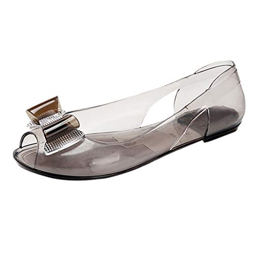 Toimothcn Women Transparent Crystal Sandals Jelly Fish Mouth Peep Toe Flat Shoes with Bow(Brown,US:6.5)
