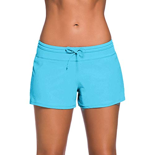 QDASZZ Women's Adjustable Swimsuit Tankini Bottom Board Shorts,Comfort Quick Dry Stretch Board Short (Light Blue, (US 4-6) S)