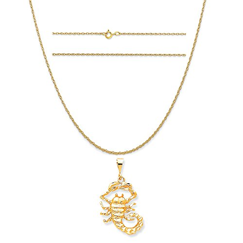 K&C 10k Yellow Gold Scorpio Charm on a 14K Yellow Gold Carded Rope Chain Necklace, 16