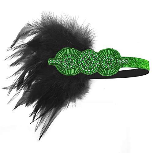 1920 Feather Headband - 1920 Accessories Black Vintage Headband Flapper Costume 1920 Headpiece for Women Gatsby -