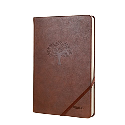 Journal Note book,WERTIOO Leather Diary Hardcover Classic Writing notebook A5 Dotted Pages Thick Paper Business Thanksgiving Gift for men (Brown)