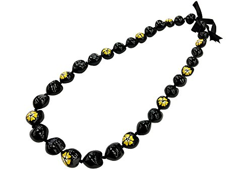 DK Hawaiian Collections Style Kukui Nut Lei Hibiscus Flower Hand Painted 33 Nuts Necklace (Yellow)
