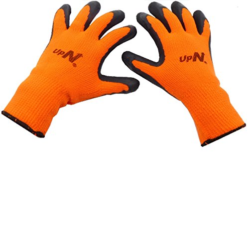 Heavy Duty Work Gloves, Textured Rubber Latex Palm Dipped/Coated for Construction, Breathable Soft Wearproof Non-slip Comfortable Safety Protective Glove, 12-Pairs, Men's Large