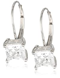 Plated Sterling Silver Princess-Cut Cubic Zirconia Lever Back Earrings (2 cttw)