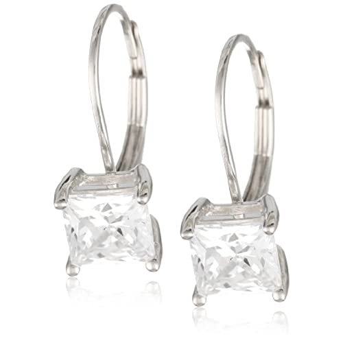 hot sell Plated Sterling Silver Princess-Cut Cubic Zirconia Lever Back Earrings (2 cttw)