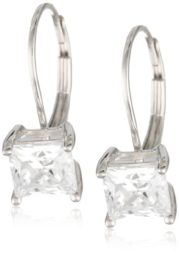 Plated Sterling Princess Cut Zirconia Earrings