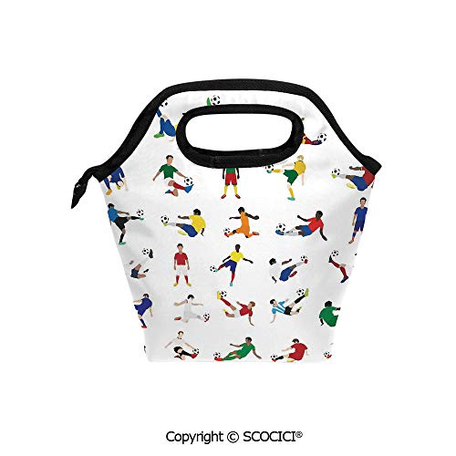 Picnic Food Insulated Cooler Tote Lunch Bag Collection of Soccer Players League Pastime Practicing Different Poses Organizer Lunchbox for Women Men Kids. (Tigers Player Ladies)