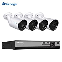 Techage HD H.265 4.0MP POE Security Camera CCTV System 4CH NVR, 4pcs IP Camera Outdoor Day/Night View Surveillance Kit