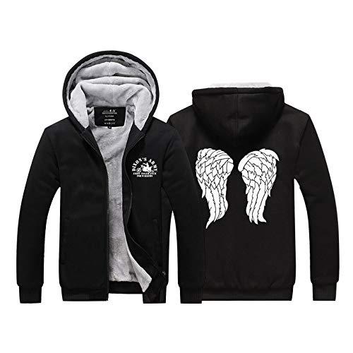 SevenJuly1 Gray Wings Pattern Hoodie Thick Hooded Sweatshirt Fleece Velvet Cosplay Costume Jacket L]()