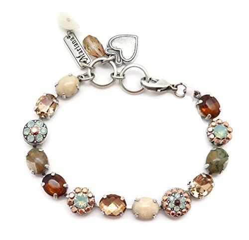 Mariana Swarovski Crystal Silver Plate Bracelet Oval Brown Pacific Opalescent Mineral Stone Serai M1040
