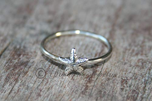 (Starfish Star Fish Ring- Sterling silver - silver ring - Stacker ring)