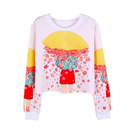 Imprimé Top Sweat Nombril Parapluie Ouvert Manche Acvip Femme Fleur Longue shirt Avec c8HwvnAxBq