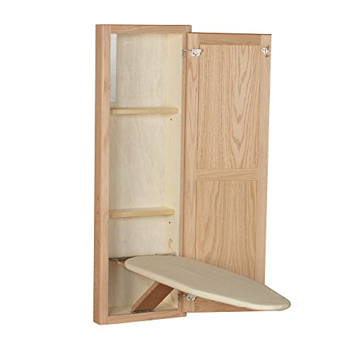 Household Essentials 18200-1 STOW AWAY In-Wall Ironing Board Cabinet with Built In Ironing Board | Unfinished Oak Office Unfinished Cabinet