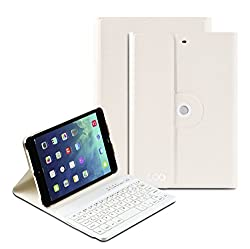 iPad Mini Keyboard, COO Wireless Removable Bluetooth Keyboard Case for Apple iPad Mini 1/2/3 with 360 Degree Rotation and Multi-Angle Stand (White)