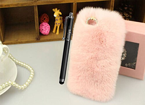 5C Case,Fusicase iphone 5C case,Fusicase fashion style New Rex Rabbit Fur Hair Sleeve Plush Fitted Back case Cover for iphone 5C(Pink)