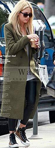 Bolawoo Marca Confortevole Bavero Lunga Parka Double Grün Donna Mode Outwear Breasted Giacca Tasche Invernali Anteriori Vento Giubotto Manica Monocromo Di 6r6ngPq