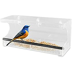 Outdoor Prospects Window Bird Feeder - Slide Out Tray with Drain Holes and 3 Extra Suction Cups - 100% See Through Clear Acrylic - Easy Clean - Strong Suction and Sturdy Perch - All Weather Design