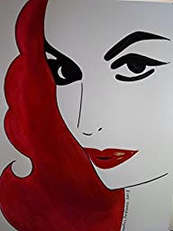 MARIA FELIX : Mexican DIVA :: Abstract POP Modern ART Style - Acrylic Original Painting on White Paper - SIZE:11\