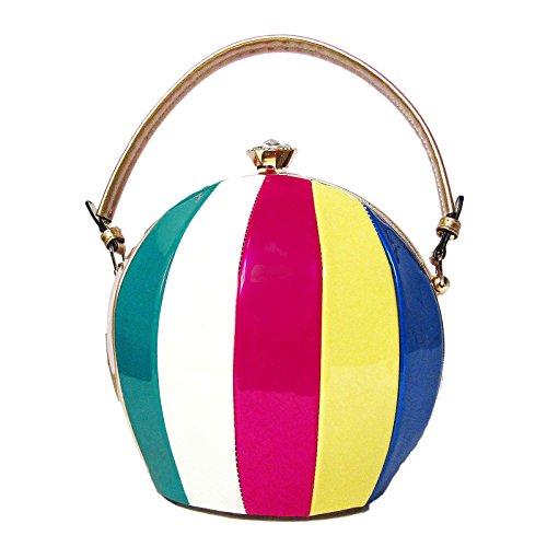 Multi Pink Handbag Color (Tigerstars Multi Color Beach Ball Gold Top Handle Shoulder Bag)