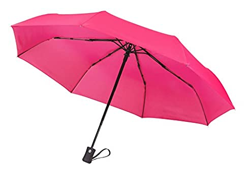Crown Coast Pink Travel Umbrella - 60 MPH Windproof Lightweight for Men Women and Kids, Compact Travel Umbrellas in Multiple (Corrosion Blocker)
