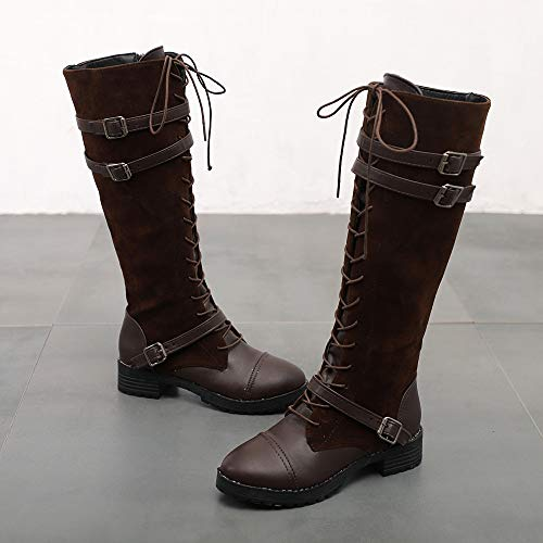 Knee FALAIDUO Color Suede Women's Brown Cowboy Shoes Boots Long Boots Solid Straps Military Leather Stitching Boots Flat Motorcycle 00qrvxw