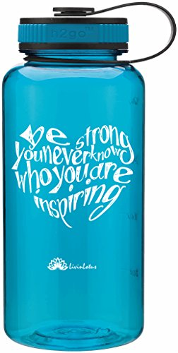 Wide Mouth 34oz Teal Aqua Water Bottle – Inspirational Water Tracker for Hydration Tracking with Durable Strap by LivinLotus (BPA Free)