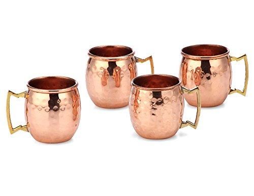 PARIJAT HANDICRAFT 2 Oz. Solid Copper Mini Moscow Mule Shot Mug, Set of 4 Authentic 100% Solid Copper Hammered Moscow Mule Mug 2-Oz Shot Glass - Set of - Shot Mug Mini 4