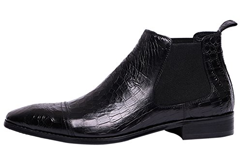 Boots Embossed Men Ankle Shoes Boots by Print Chelsea Santimon Black for Leather Boots dqxwdX