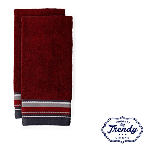Evan Stripe Burgundy Hand Towels - Bathroom Shower Collection - Set of 2 Hand Towels - Exclusive Towel Set by Trendy Linens