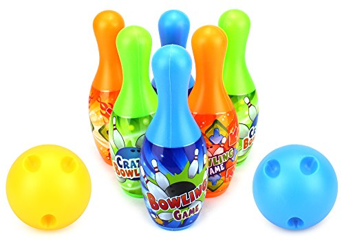 Crazy Bowler Children's Mini 8 Piece Toy Bowling Set w/ 6 Pins, 2 Bowling Balls by Velocity Toys