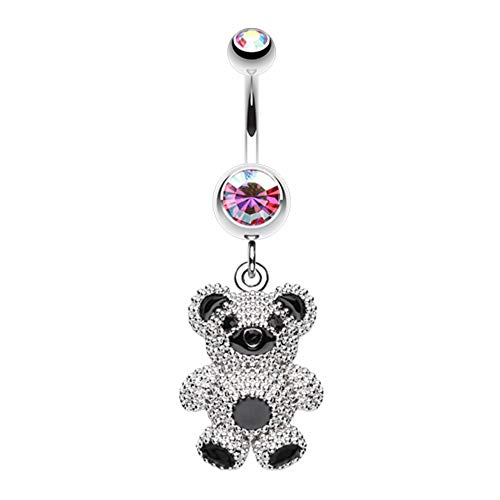 - Covet Jewelry Adorable Teddy Bear Belly Button Ring (14 GA, Length: 10mm, Pink/Aurora Borealis)