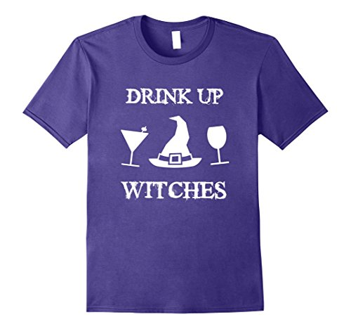 Cocktail Themed Costumes (Mens Drink Up Witches Halloween Party T-Shirt Wine and Cocktail XL Purple)