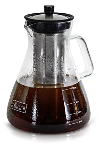 Cold Brew Coffee Maker - Stylish & EXTRA DURABLE 40oz/1.2L Glass Pitcher With Spout & Removable Stainless Steel Filter, Brews Perfectly Smooth Coffee Every Time, Ideal Refreshment For A Hot Summer Day by alkani