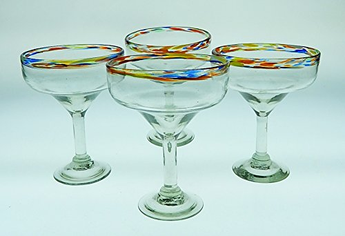 (Mexican Margarita Glass with Confetti Rim, 15 oz, Set of)