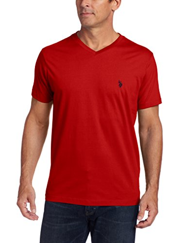 U.S. Polo Assn. Men's V-Neck Short Sleeve T-Shirt, Engine Red, Medium