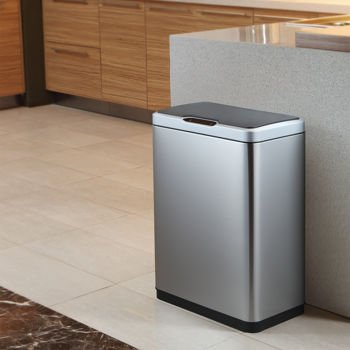 Gray Round Vented Trash Can With Lid