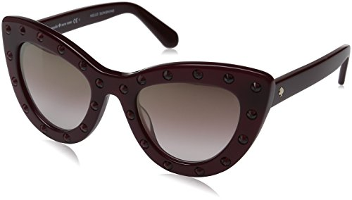 Kate Spade Women's Luann Cateye Sunglasses, Burgundy/Brown Mirror Gold Shaded, 50 - Shaded Sunglasses