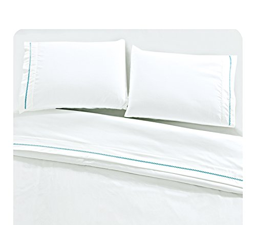 POSH HOME 4 Piece (King, Castle Hill-Blue) Embroidered Sheet Set ()