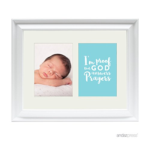 Andaz Press Double White 5x7-inch Photo Frame, I'm Proof That God Answers Prayers, Boy, 1-Pack, Picture Gift Wall Art ()