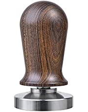 53mm Calibrated Espresso Tamper, MATOW Calibrated Coffee Tamper with Spring Loaded Wooden Handle Stainless Steel Flat Base, Professional Barista Espresso Hand Tamper (Wood Handle, 53mm Tamper)