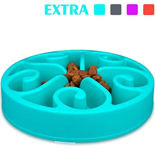 wangstar Slow Pet Bowl Slow Feeder for Dog Cats, Bloat Stop Puzzle Bowl Fun Maze Feeder Slow Feeding Anti-Skid Design