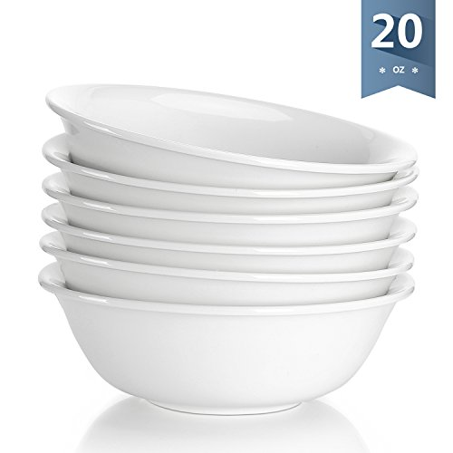 Sweese 1306 Porcelain Bowls - 20 Ounce for Cereal, Soup and Fruit - Set of 6, White