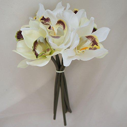 Lily Garden Mini 7 Stems Cymbidium Orchid Bundle Artificial Flowers -