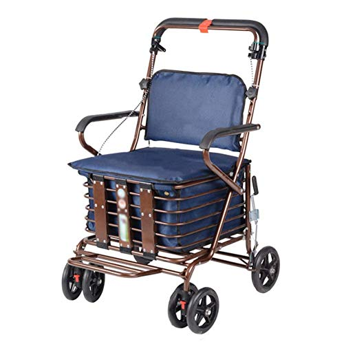 Underseat Storage Basket - SXRNN Aluminium Shopping Trolley with Padded Seat and Underseat Basket Rubber Wheel for Limited Mobility Seniors Load 120 Kg,Navy Blue