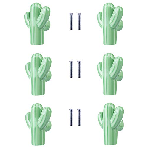 - ZILucky Cactus Shape Ceramic Drawer Pulls Handles for Nursery Dresser Cupboard Wardrobe Cabinet Kitchen Desert Green Plant Theme Knobs Pack of 6 (Green)