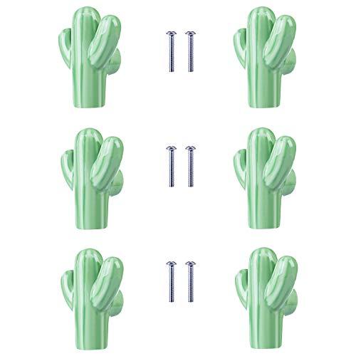 Nursery Drawer Pulls Knobs - ZILucky Cactus Shape Ceramic Drawer Pulls Handles for Nursery Dresser Cupboard Wardrobe Cabinet Kitchen Desert Green Plant Theme Knobs Pack of 6 (Green)